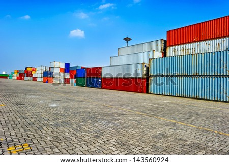 industrial port with containers - stock photo