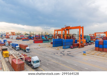 industrial port with containers to await transport. - stock photo