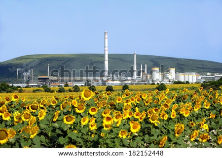 Industrial power plant and the nature - eco concept - stock photo