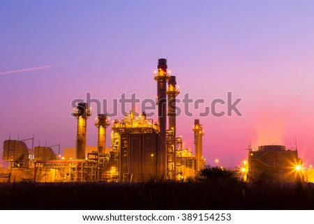 Industrial power plant at twilight.