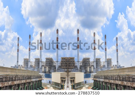 Industrial power plant with cloud sky