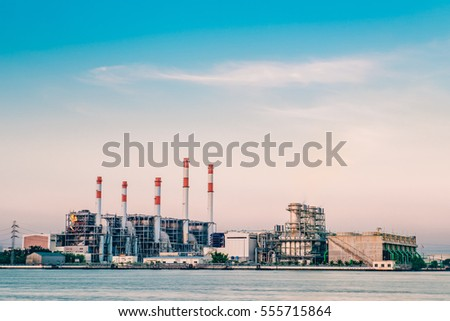 Industrial power plant with smokestack,Energy power station