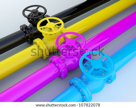 Industrial printing - CMYK pipelines with valves - stock photo
