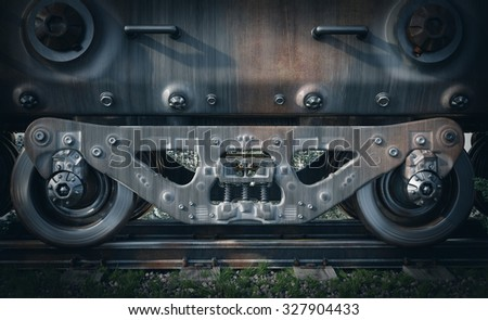 Industrial rail train wheels closeup technology conceptual background