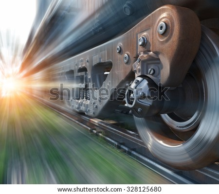 Industrial rail train wheels closeup technology perspective conceptual background - stock photo
