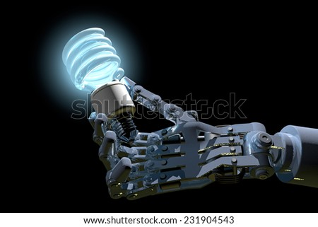 Industrial robot hand holds a compact fluorescent light bulb, high-quality 3D image. Dark background with glowing light bulb. Robot hand is fictitious, created and modeled entirely by myself.