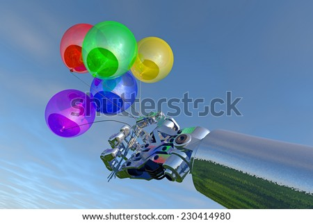 Industrial robot hand holds brightly colored balloons; dark blue overcast sky backdrop;  high-quality 3D image. Fictitious, created and modeled entirely by myself