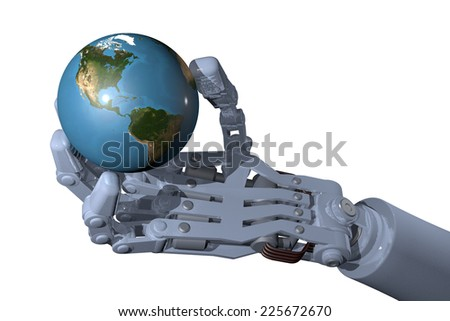 Industrial robot hand holds globe, high-quality 3D image. White background, focused on the Americas.(Elements of this image furnished by NASA- earthmap http://visibleearth .nasa.gov) - stock photo