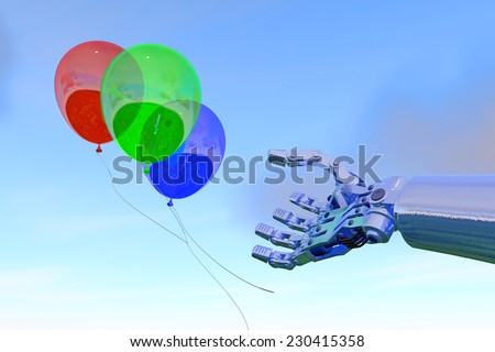 Industrial robot hand reaches for brightly colored balloons, against a bright blue cloudy sky backdrop, high-quality 3D image. Robot hand is fictitious, created and modeled entirely by myself