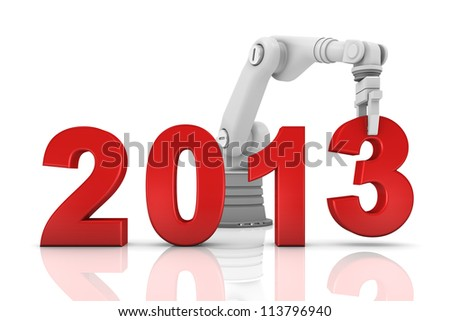 Industrial robotic arm building 2013 year isolated on white background - stock photo