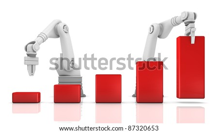 Industrial robotic arms building chart on white background - stock photo