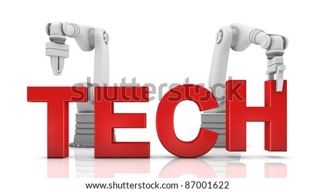 Industrial robotic arms building TECH word on white background - stock photo
