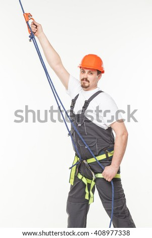 Industrial safety belt and rope isolated on white  - stock photo