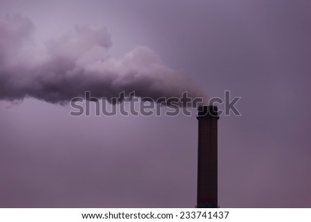 Industrial scenery with smoke from coal power plant