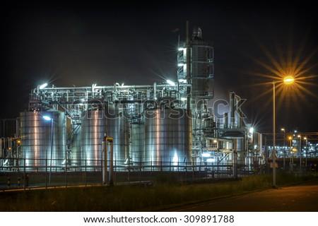 Industrial shiny metal in the dark - stock photo