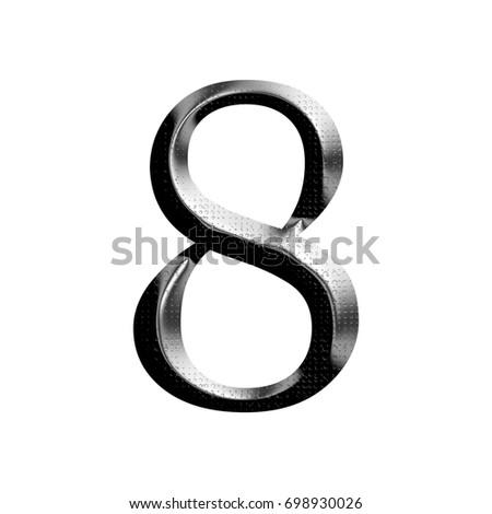 Industrial Shiny Metal Number Eight 8 Stock Illustration 698930026