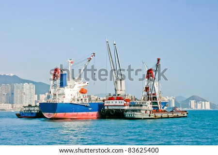 Industrial ship in Hong Kong - stock photo