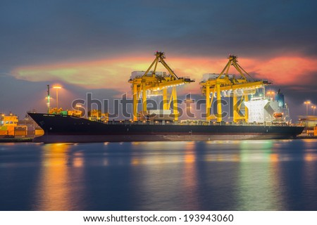 Industrial shipping port in Bangkok, Thailand - stock photo