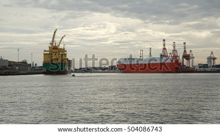 Industrial ships in the port