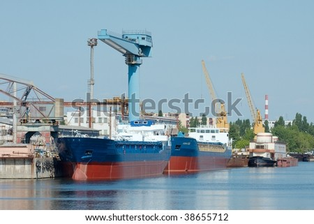 Industrial shipyard with newly built ships