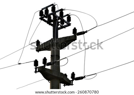 Industrial shot with a concrete electricity pole isolated on white background