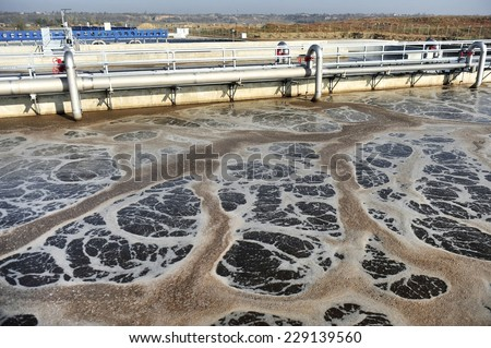 Industrial shot with a modern waste water treatment plant - stock photo