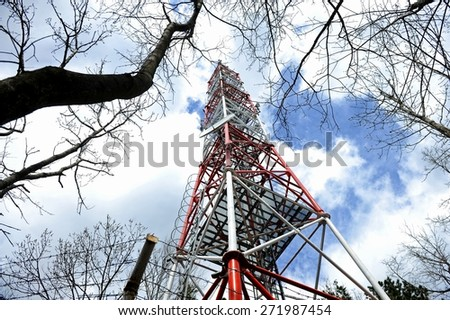 Industrial shot with gsm antenna in the woods - stock photo
