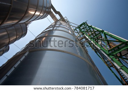 Industrial Silo tower  in petrochemical history plant