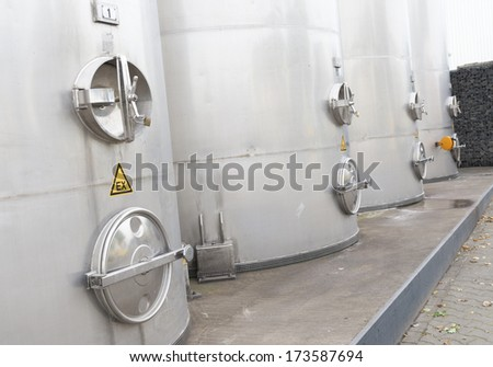 industrial silos for the food processing industry - stock photo