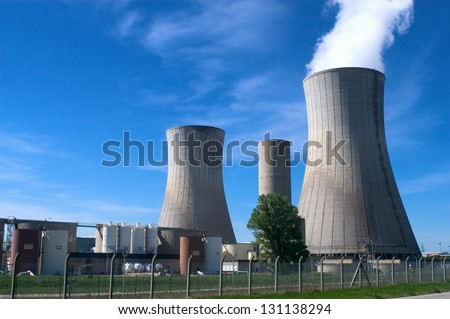 industrial site in nuclear power generation - stock photo
