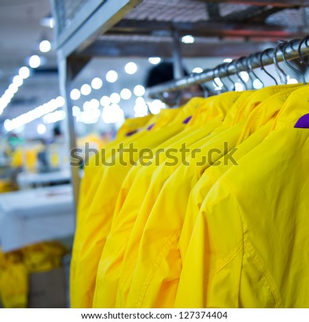 Industrial size clothes factory in asia. - stock photo