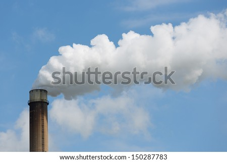Industrial smoke stack of a power plant.