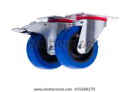 Industrial steel casters alined isolated on white background