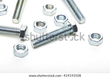 Industrial steel hardware bolt nut screw washer - stock photo