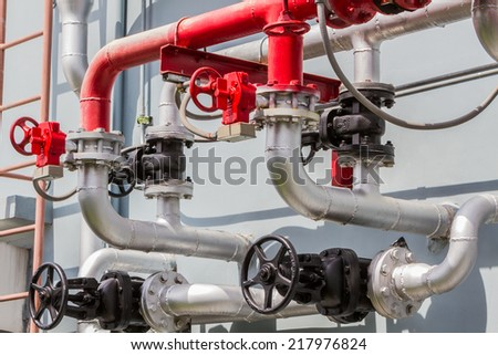 Industrial Steel pipelines and valves.  - stock photo
