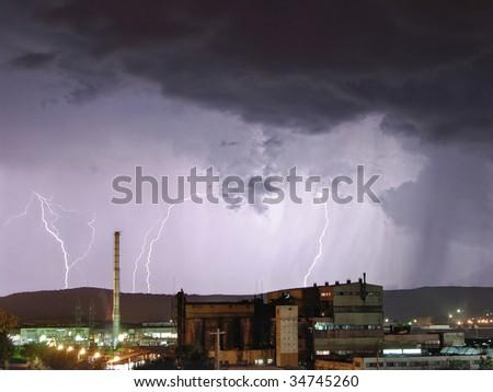 Industrial storm - stock photo