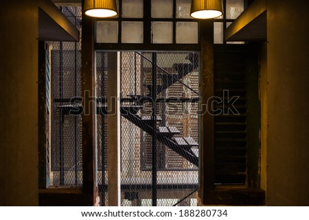 industrial style staircase - stock photo