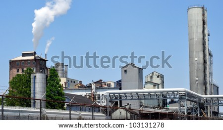 Industrial Sugar Refinery Plant - stock photo