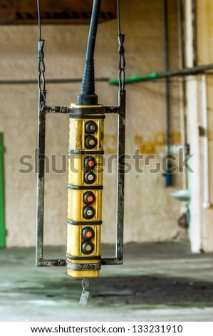 Industrial switch inside building closeup - stock photo