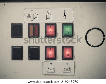 industrial switching button control panel - stock photo