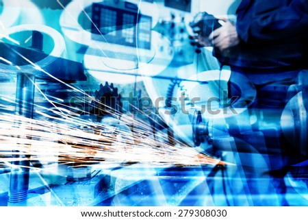 Industrial technology abstract background. Modern industry, machines. - stock photo