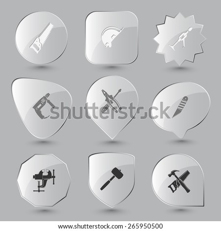 Industrial tools set. Raster glass buttons. - stock photo