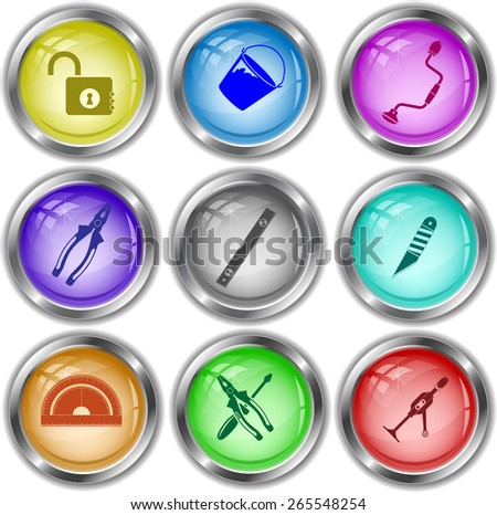 Industrial tools set. Raster internet buttons. - stock photo