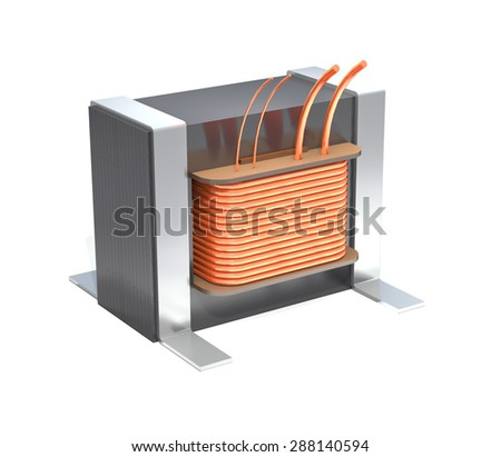 Industrial transformer is on a white background. - stock photo