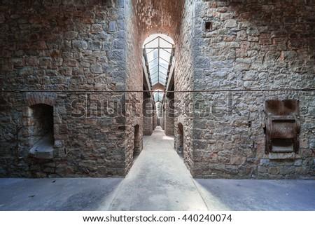 industrial underground background - stock photo