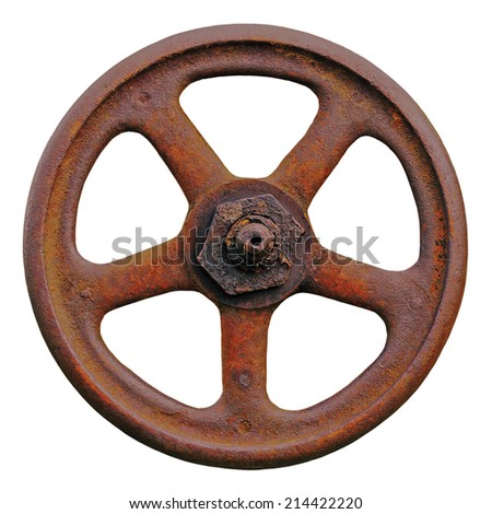 Industrial Valve Wheel And Rusty Stem, Old Aged Weathered Rust Grunge Latch Macro Closeup Isolated - stock photo