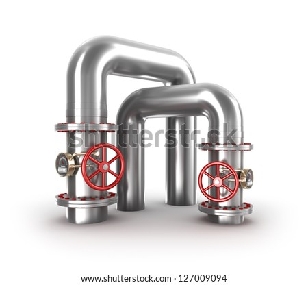 Industrial valves and pipes - stock photo