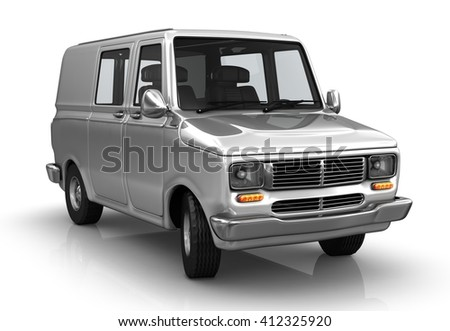 Industrial van on a white background. 3d illustrated.