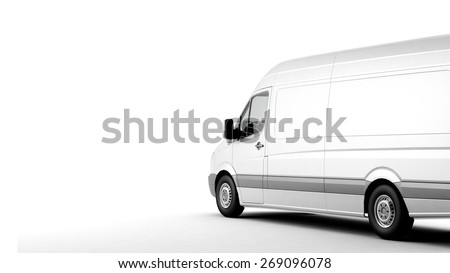 Industrial van on a white background, room for text copy space - stock photo