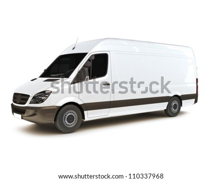 Industrial van on a white background, room for text ,logo or copy space - stock photo